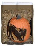 Black Cat On Pumpkin Duvet Cover