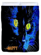Black Cat Portrait With Happy Halloween Greeting  Duvet Cover