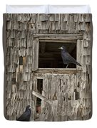 Black Crows At The Old Barn Duvet Cover