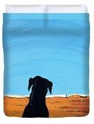 Black Dog In Chestertown, 1998 Duvet Cover