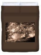 Black Dog On A Misty Road. Misty Roads Of Scotland Duvet Cover