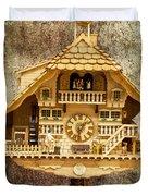 Black Forest Figurine Clock Duvet Cover