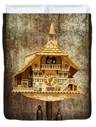 Black Forest Figurine Clock Duvet Cover