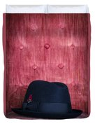 Black Hat On Red Velvet Chair Duvet Cover by Edward Fielding