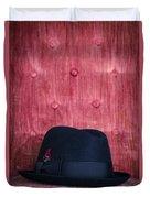 Black Hat On Red Velvet Chair Duvet Cover