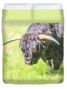 Black Highland Cattle Bull Duvet Cover
