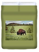 Black Hills Bull Bison Duvet Cover by Robert Frederick
