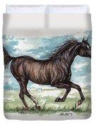 Black Horse Running Duvet Cover