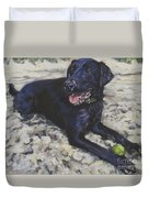 Black Lab On The Beach Duvet Cover