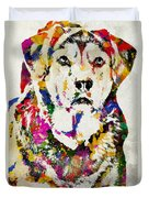 Black Lab Watercolor Art Duvet Cover