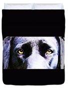 Black Labrador Retriever Dog Art - Lab Eyes Duvet Cover by Sharon Cummings