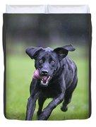 Black Labrador Running Duvet Cover