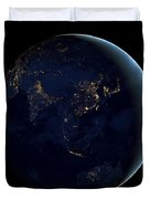 Black Marble - Asia And Australia City Lights Duvet Cover