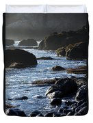 Black Rocks And Sea  Duvet Cover