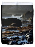Black Rocks Lichen And Sea  Duvet Cover