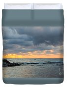 Black Sea Sunrise Before Storm Duvet Cover