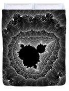 Black White And Grey Mandelbrot Fractal Art Duvet Cover