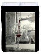 Black White And Red Wine Duvet Cover