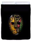 Blackhawks Goalie Mask Duvet Cover