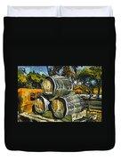 Blackjack Winery Wine Barrels Duvet Cover