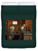 Blacksmith And Apprentice Impasto Duvet Cover
