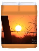 Blazing Orange Fence Line Sunset Duvet Cover