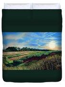 Blazing Sun On Farmland Duvet Cover