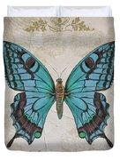 Bleu Papillon-c Duvet Cover