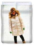 Blonde Ice Skater Duvet Cover
