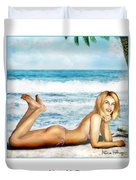 Blonde On Beach Duvet Cover