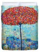 Blooming Beyond Known Skies - The Tree Of Life - Abstract Contemporary Original Oil Painting Duvet Cover by Ana Maria Edulescu