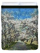 Blooming Cherry Tree Avenue Duvet Cover