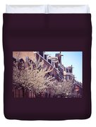 Blooming Decoration Of The Streets. Pink Spring In Amsterdam Duvet Cover