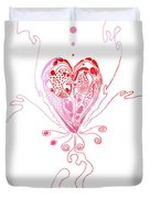 Blossoming Love Pink And Red Valentine Duvet Cover