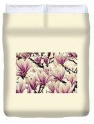 Blossoming Of Magnolia Flowers In Spring Time Duvet Cover