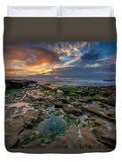 Blue And Gold Tidepools Duvet Cover