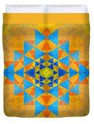 Blue And Gold Yantra Meditation Mandala Duvet Cover