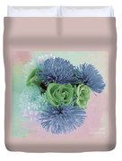 Blue And Green Flowers Duvet Cover