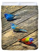 Blue And Indigo Buntings - Three Little Buntings Duvet Cover