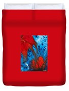 Blue And Red Abstract 3 Duvet Cover by Sharon Cummings