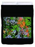 Blue And Red Flowers In Kuekenhof Flower Park-netherlands Duvet Cover