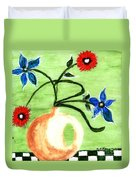 Blue And Red Flowers Duvet Cover
