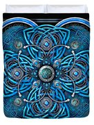 Blue And Silver Celtic Cross Duvet Cover by Richard Barnes