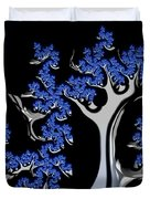 Blue And Silver Fractal Tree Abstract Artwork Duvet Cover