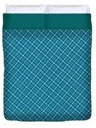 Blue And Teal Diagonal Plaid Pattern Textile Background Duvet Cover
