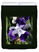 Blue And White Iris Duvet Cover