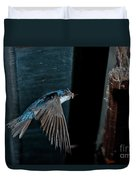 Blue And White Swallow Duvet Cover
