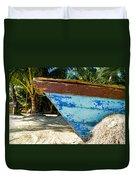 Blue Beached Canoe Duvet Cover