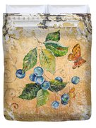 Blue Berries And Butterfly On Vintage Tin Duvet Cover