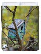 Blue Birdhouse Duvet Cover
